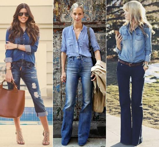 camisa jeans e calça